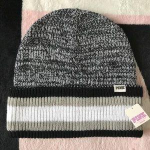 VS Pink Gray Marl Black Reversible Knit Beanie Hat
